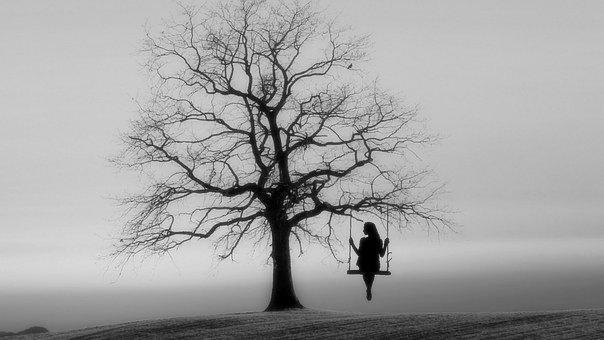 Girl Solitude Swing Woman Relaxing Tree Lady